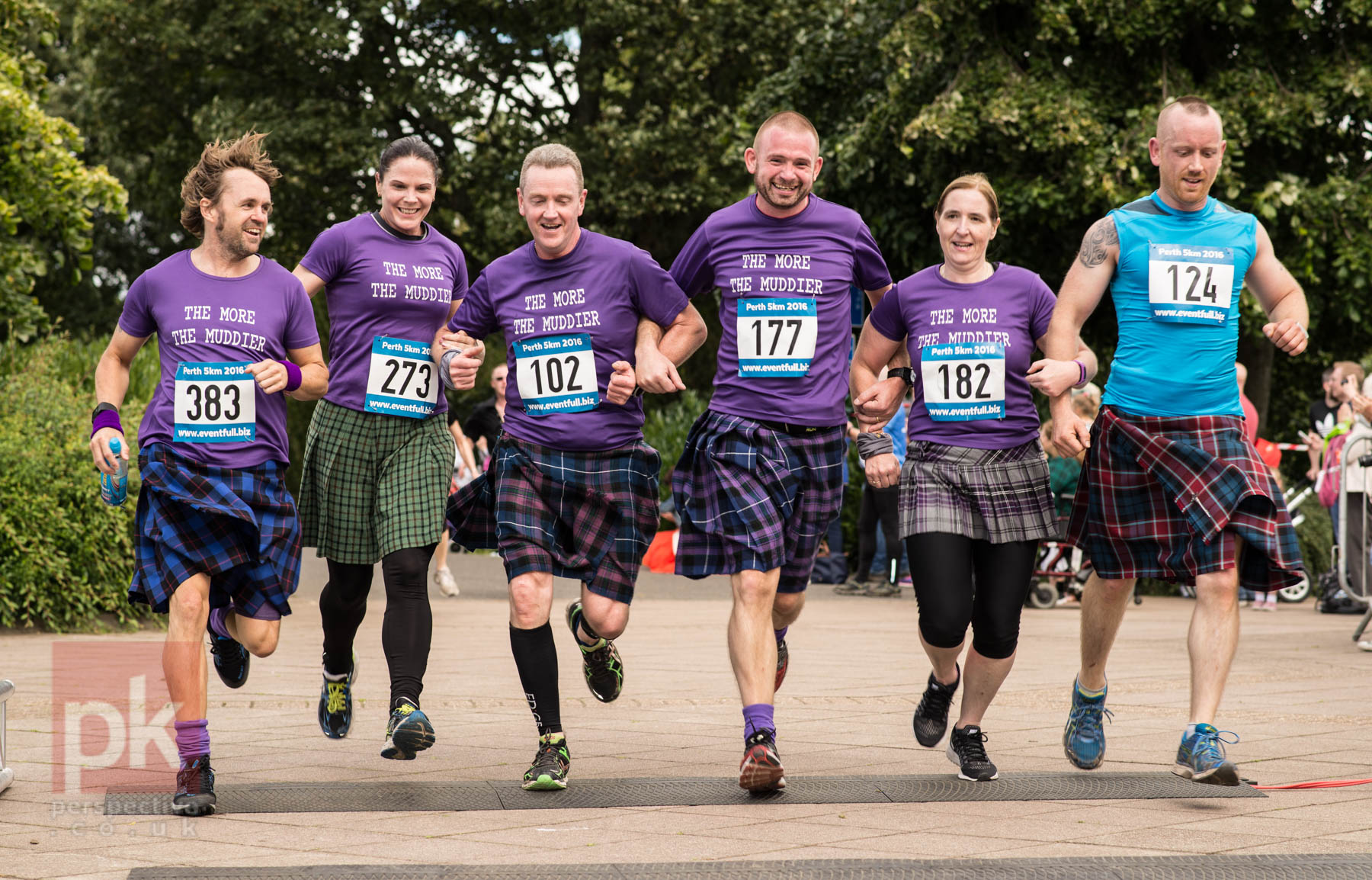 The Perth Kilt run was well attended - this group chose to cross the finish line as a unit.