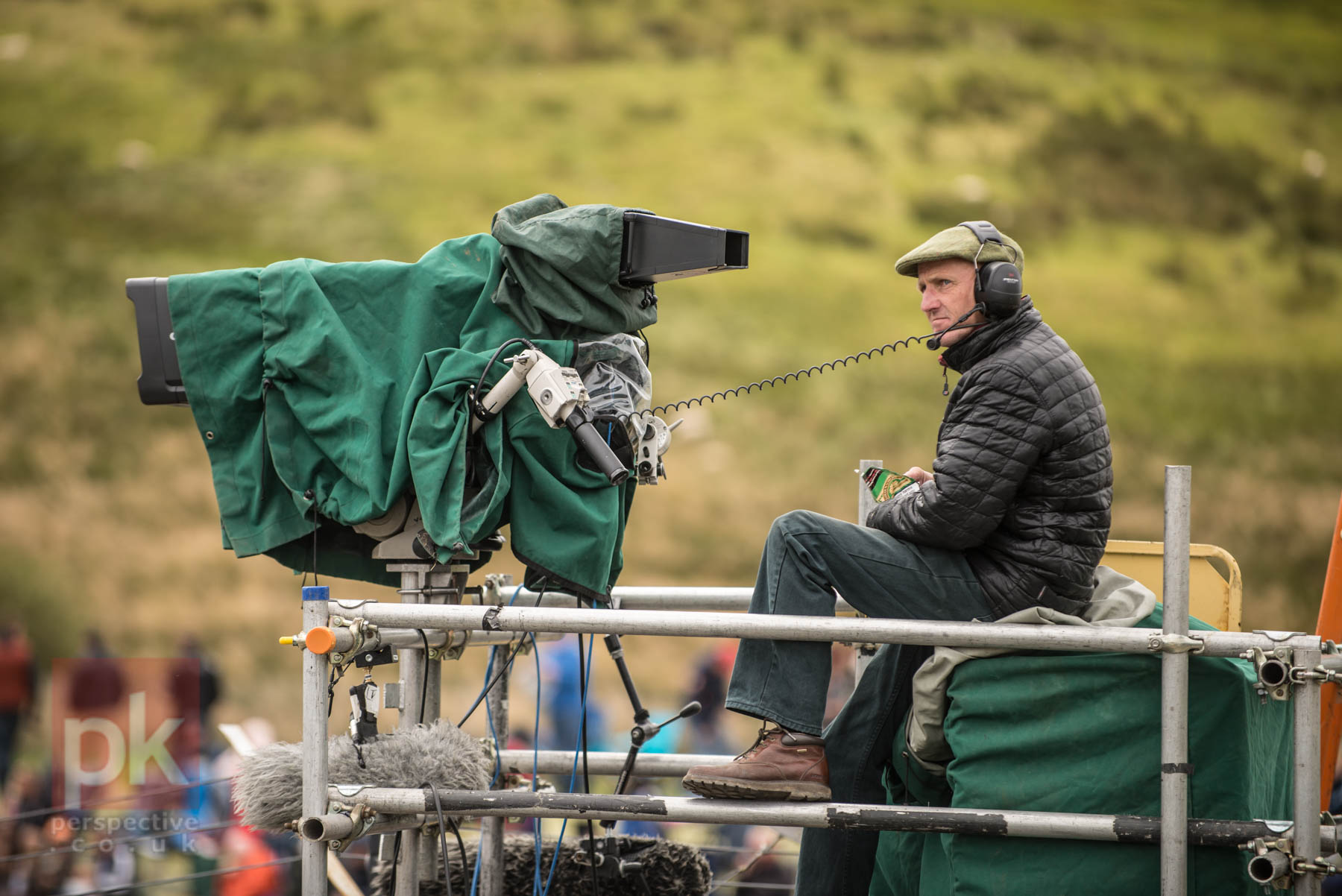 Camera man looking a bit bored inbetween Touring Car races at Knockhill.