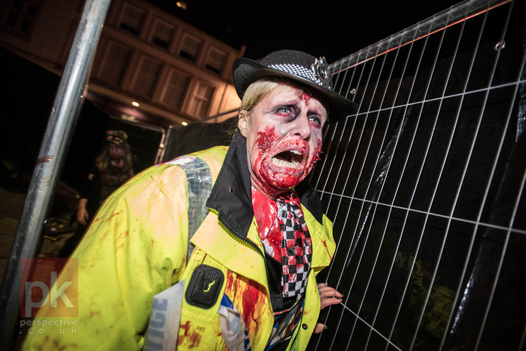 Zombies in the streets of Perth for the Hallowe'en festivities.