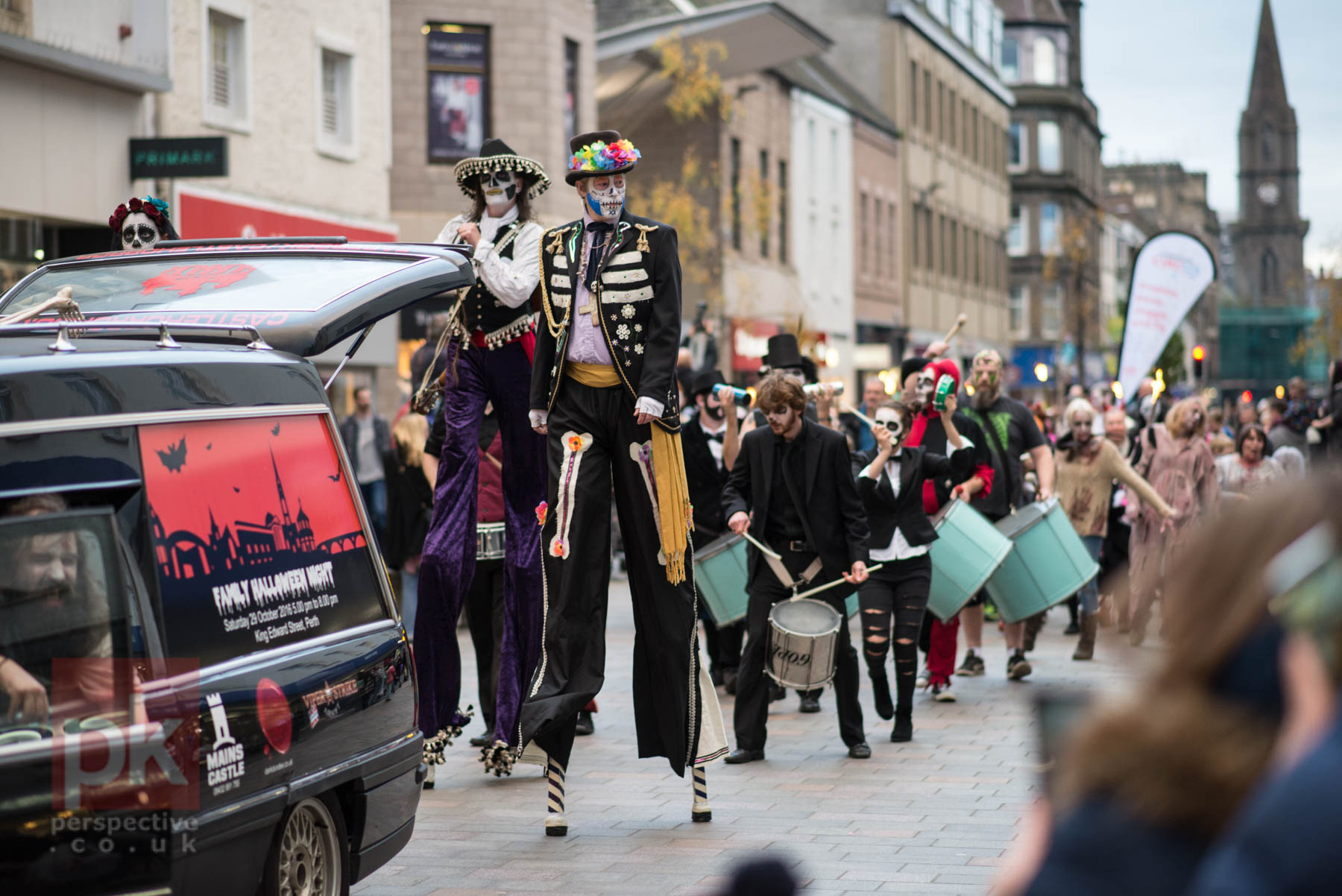 Family Hallowe'en parade making its way down the Perth High Street -  what a sight!