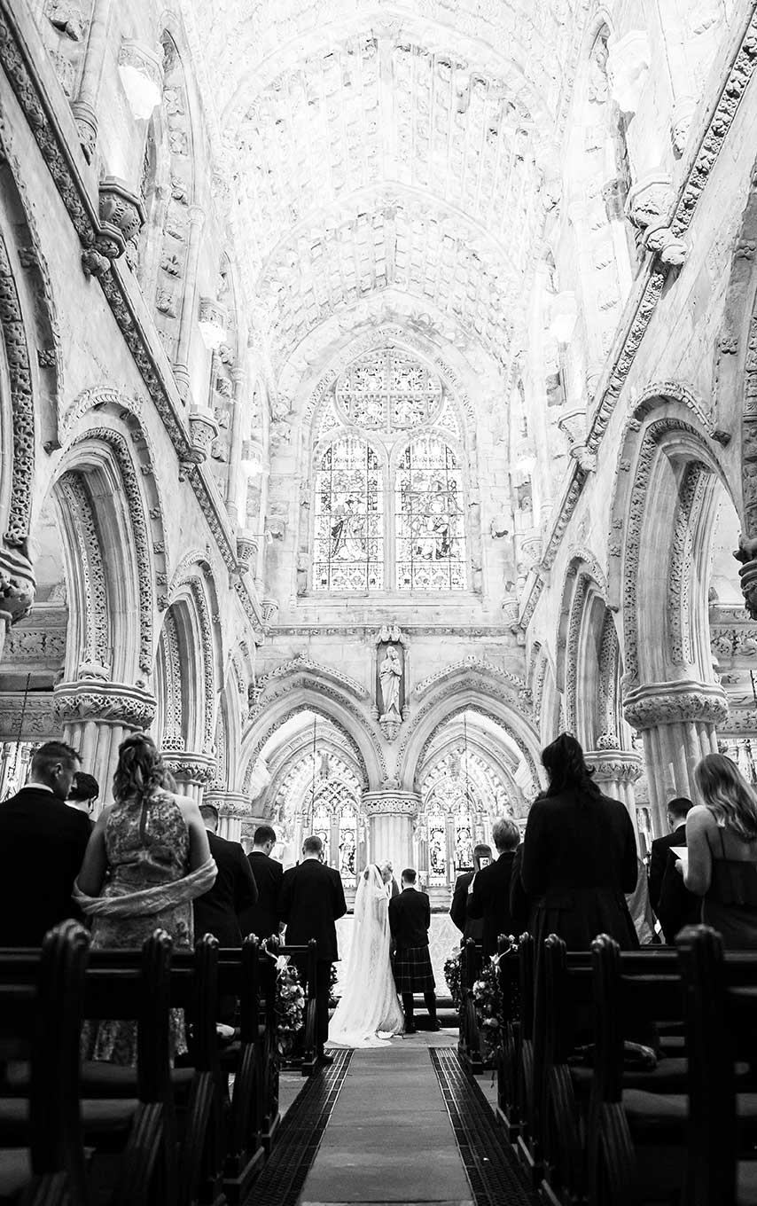Bride and Groom inside Rosslyn Chapel, Scotland